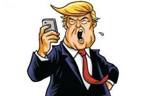 Donald Trump tweeting on his phone artwork (Shutterstock)