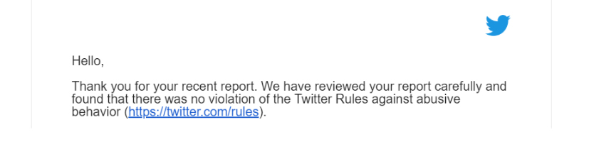 Email from Twitter to Dana Loesch explaining that they do not consider the death threat a violation of the terms of service