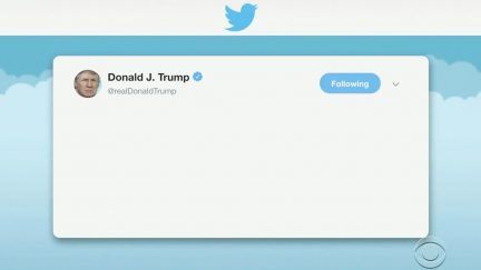 Blank Trump Tweet from Late Show with Stephen Colbert
