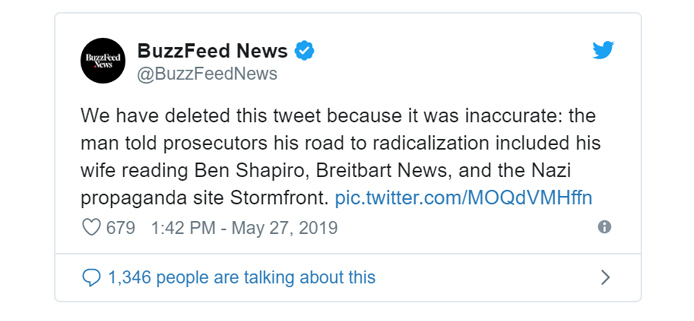 We have deleted this tweet because it was inaccurate: the man told prosecutors his road to radicalization included his wife reading Ben Shapiro, Breitbart News, and the Nazi propaganda site Stormfront.