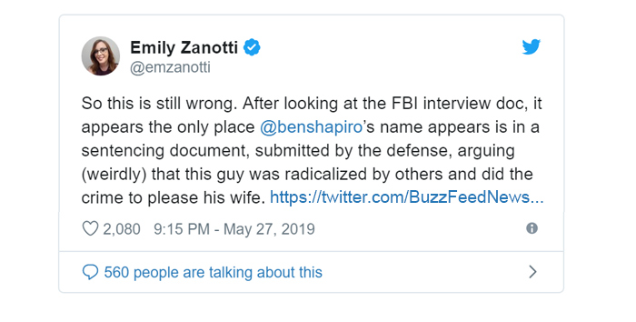 So this is still wrong. After looking at the FBI interview doc, it appears the only place @benshapiro's name appears is in a sentencing document, submitted by the defense, arguing (weirdly) that this guy was radicalized by others and did the crime to please his wife.