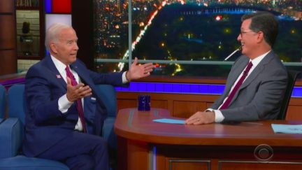 Joe Biden Brushes Off Gaffes with Stephen Colbert