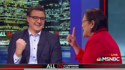 Chris Hayes, Mazie Hirono Mock-Cheer Lone Republican to Back Voting Rights Act