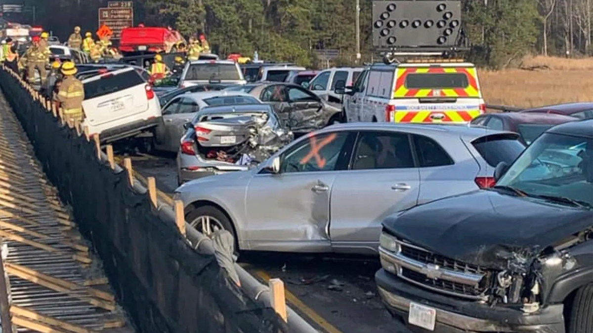 A 69 care pile-up near Williamsburg Virginia days before Christmas