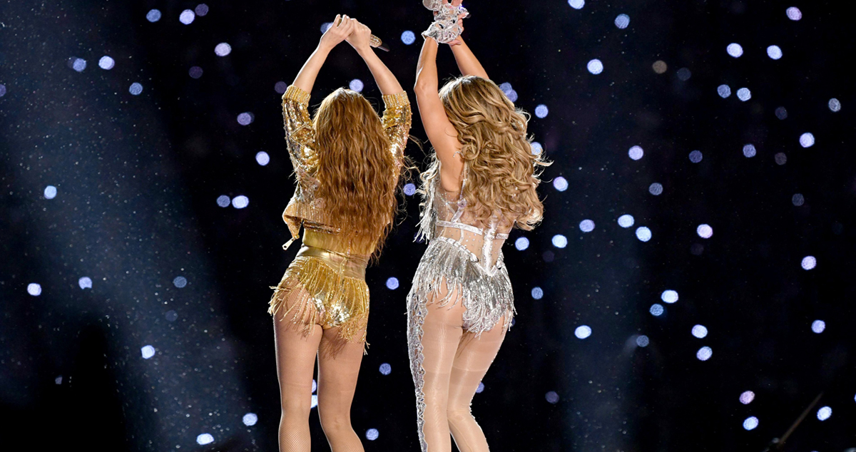 Shakira and Jennifer Lopez perform onstage during the Pepsi Super Bowl LIV Halftime Show