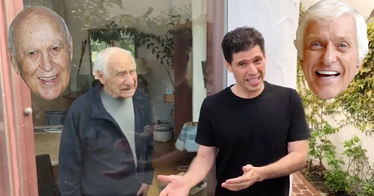 Mel Brooks and son Max practice social-distancing in hilarious coronavirus PSA class=
