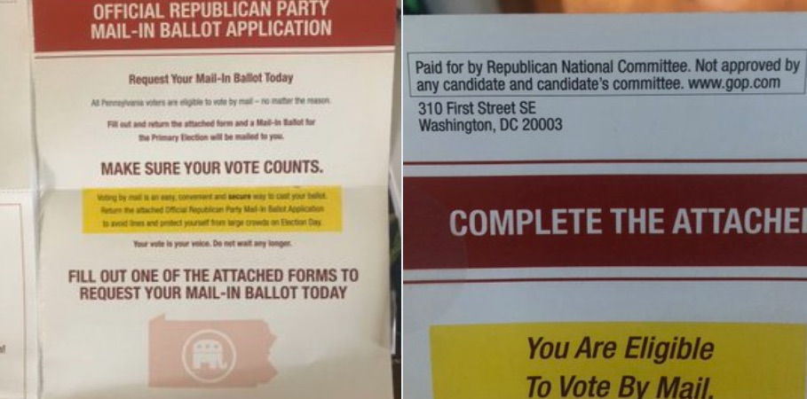 RNC Mailers Urge Voters to Request Mail-In Ballots Blasted by Trump