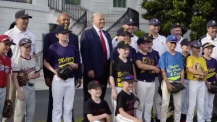 Trump Doesn't Wear Mask, Socially Distance at WH Little League Event