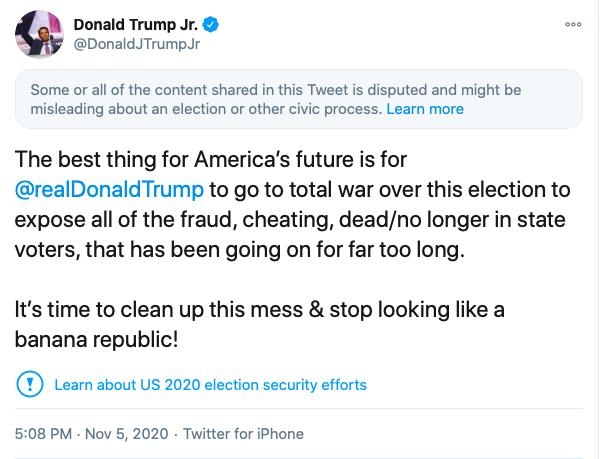 Donald Trump Jr. Posts 'Incendiary' 'Go to Total War' Tweet