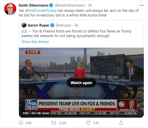 Twitter Rises as One to Smite Keith Olbermann for Calling Trump a 'Whiny Little Kunta Kinte' in Now-Deleted Tweet