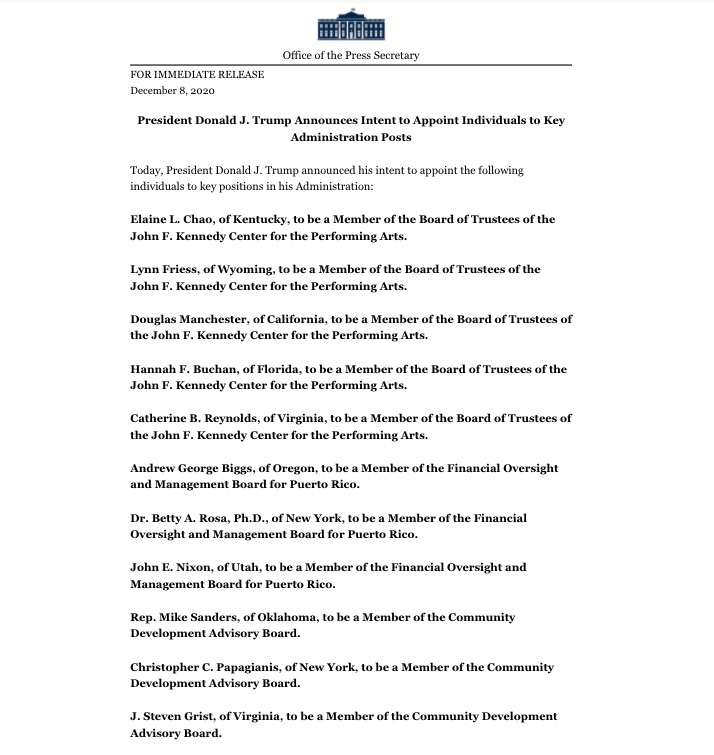 liste des administrateurs Trump 2020