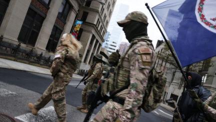 Militia in camouflage