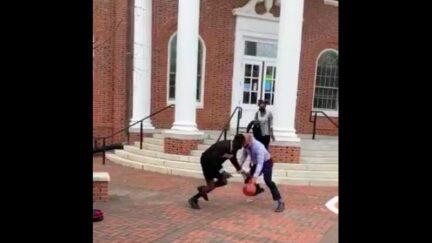 Virginia State Univ. President Makola Abdullah Schools Student in Basketball