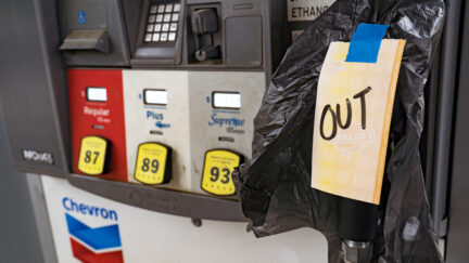 Gas stations begin to run out of gasoline after motorists rushed to fill up on May 11, 2021 in Atlanta, Georgia.