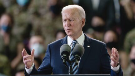 MILDENHALL, ENGLAND - JUNE 09: US President Joe Biden addresses US Air Force personnel at RAF Mildenhall in Suffolk, ahead of the G7 summit in Cornwall, on June 9, 2021 in Mildenhall, England. On June 11, Prime Minister Boris Johnson will host the Group of Seven leaders at a three-day summit in Cornwall, as the wealthiest nations look to chart a course for recovery from the global pandemic. (Photo by Joe Giddens - WPA Pool/Getty Images)