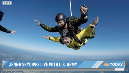 Jenna Bush Hager skydiving on the Today show