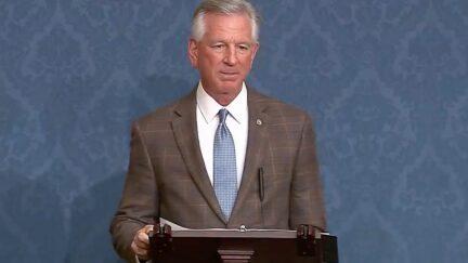 Tommy Tuberville speaks on the Senate floor