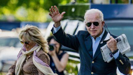 WASHINGTON, DC - MAY 15: First lady Jill Biden and U.S. President Joe Biden walk on the ellipse to Marine One on May 15, 2021 in Washington, DC. The President and the first lady will spend the weekend Wilmington, Delaware. (Photo by Tasos Katopodis/Getty Images)