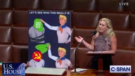 Marjorie Taylor Greene presents a Scooby Doo meme on the House floor