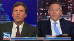 Tucker Carlson and Greg Gutfeld debating about the dumbest CNN anchor
