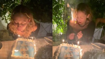 Nicole Richie accidentally sets her hair on fire while blowing out her 40th birthday candles
