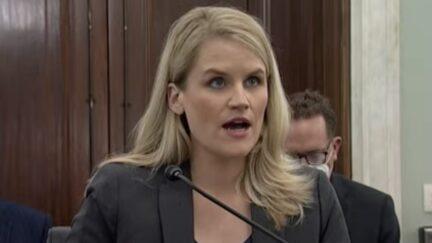 Facebook whistleblower Frances Haugen testifying in front of Senate committee