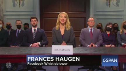 SNL parodied the Facebook whistleblower testimony, pictured is Frances Haugen