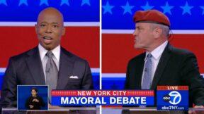 Eric Adams and Curtis Sliwa argue at mayoral debate