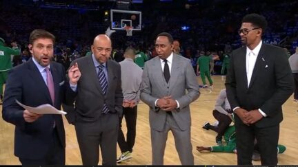 Stephen A. Smith alerts Mike Greenberg that NBA Countdown is live